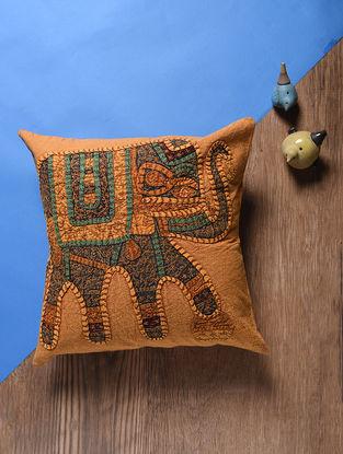 Orange-Multicolored Applique Cotton Cushion Cover (16in x 16in)