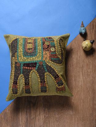 Green-Multicolored Applique Cotton Cushion Cover (16in x 16in)