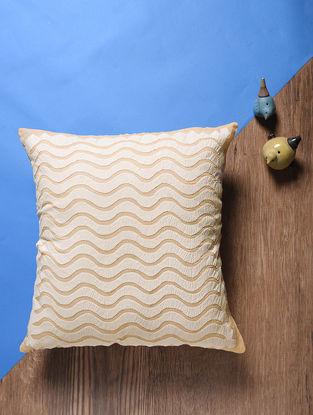 Peach Applique Cotton Cushion Cover (18in x 18in)