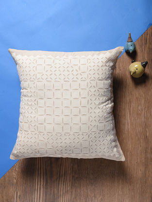 Beige Applique Cotton Cushion Cover (18in x 18in)