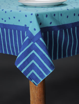 Blue Hand Block-printed Cotton Table Cover (60in x 57in)