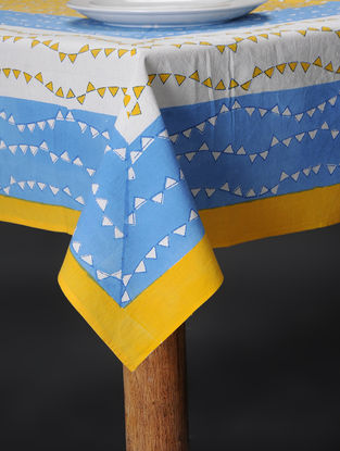 Yellow-Blue Hand Block-printed Cotton Table Cover (60in x 58in)