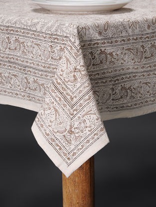 Off White Hand Block-printed Cotton Table Cover (60in x 60in)