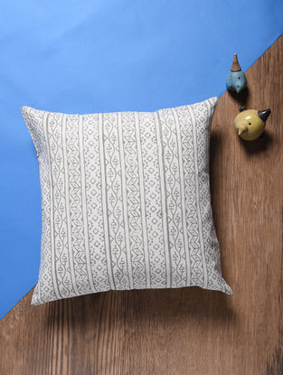Off White Hand Block-printed Cotton Cushion Cover (17in x 17in)