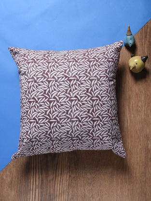 Brown Hand Block-printed Cotton Cushion Cover (18in x 18in)