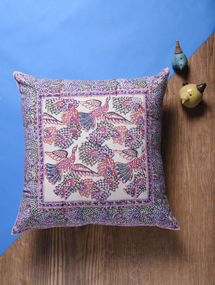 Pink-Multicolored Hand Block-printed Cotton Cushion Cover (18in x 18in)