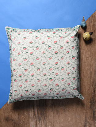 Multicolored Hand Block-printed Cotton Cushion Cover (24in x 24in)
