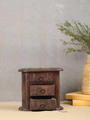 Vintage Brown Handcrafted Wood Decorative Box with Three Drawers (L:4.2in, W:8in, H:7in)