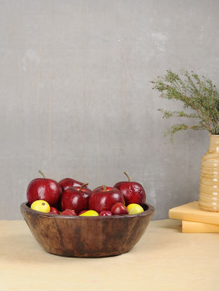 Vintage Brown Handcrafted Wood Serving Bowl (L:11.5in, W:11.5in, H:5.2in)