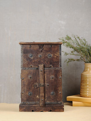 Vintage Brown Handcrafted Wood Cabinet (L:5.2in, W:8.5in, H:13.5in)