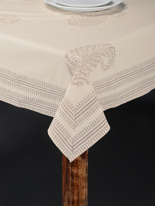 White-Grey Hand Block-printed Table Cover (88in x 61in)