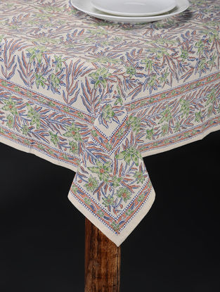 Pink-Green Hand Block-printed Table Cover (88in x 61in)