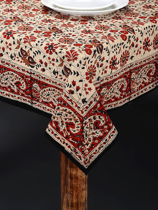 Rust-White Hand Block-printed Table Cover (86in x 61in)