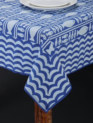 Blue-White Hand Block-printed Table Cover (88in x 62in)