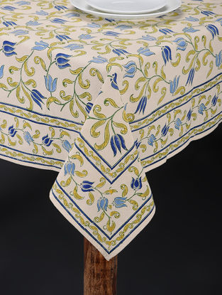 Yellow-Blue Hand Block-printed Table Cover (87in x 58in)