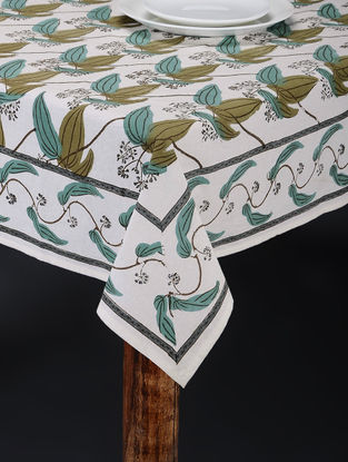 White-Green Hand Block-printed Table Cover (90in x 61in)