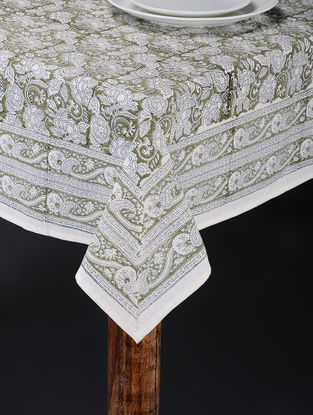 White-Green Hand Block-printed Table Cover (88in x 60in)