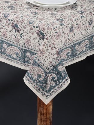 Blue-White Hand Block-printed Table Cover (88in x 61in)