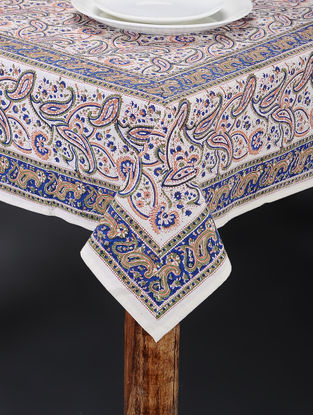 Blue-Orange Hand Block-printed Table Cover (92in x 61in)