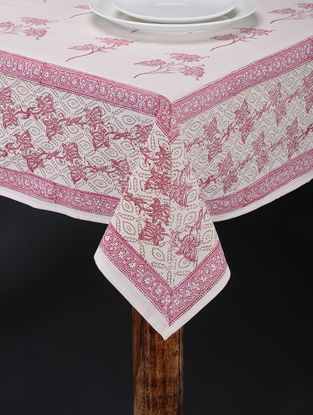 Pink-White Hand Block-printed Table Cover (107in x 72in)