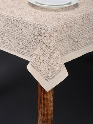 Beige-White Hand Block-printed Table Cover (120in x 60in)