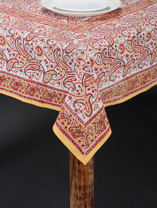Yellow-Red Hand Block-printed Table Cover (106in x 71in)