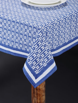 Blue-White Hand Block-printed Table Cover (106in x 72in)