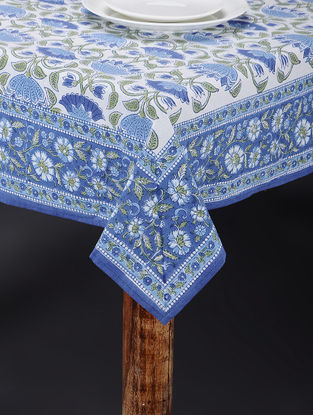 Blue-White Hand Block-printed Table Cover (108in x 73in)