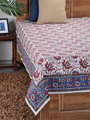 Blue-Red Hand Block-printed Double Bed Cover (106in x 88in)