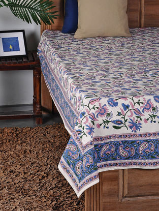 Blue-Pink Hand Block-printed Double Bed Cover (106in x 88in)