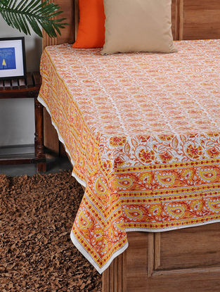 Yellow Orange Hand Block Printed Double Bed Cover (105in X 88in)