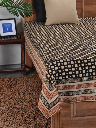 Black-Beige Hand Block-printed Double Bed Cover (108in x 88in)