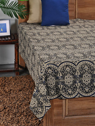 Black-White Hand Block-printed Double Bed Cover (103in x 90in)