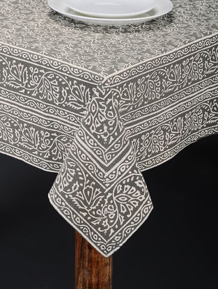 Green-White Hand Block-printed Table Cover (87in x 69in)