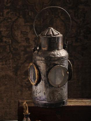 Vintage Iron Railway Lantern (L:8.5in, W:8.5in, H:15in)