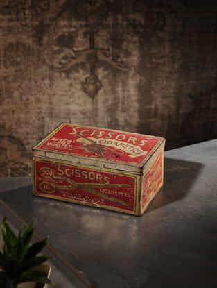 Vintage Iron Cigarette Box (L:5.6in, W:8.5in, H:3.5in)