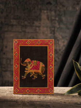 Black-Red Hand-painted Wood Panel with Elephant Motif (L:8in, W:6in)