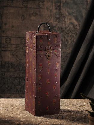 Maroon Hand-painted Wood Wine Bottle Case (L:4.5in, W:4.5in, H:14in)