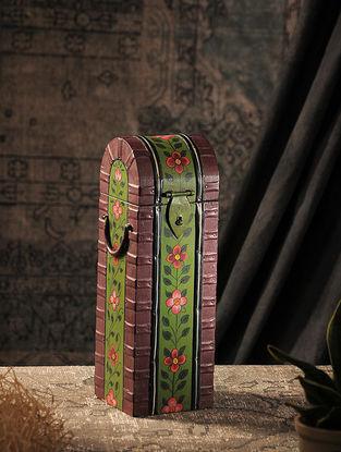 Green-Maroon Hand-painted Wood Wine Bottle Case (L:4.5in, W:4.5in, H:14in)