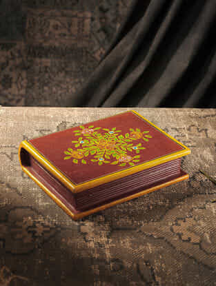 Red-Multicolored Hand-painted Wood Box (L:8in, W:10in, H:2.6in)