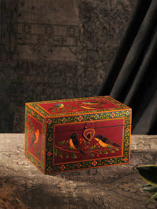 Red-Multicolored Hand-painted Wood Box (L:6in, W:9.7in, H:6in)