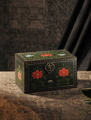 Green-Multicolored Hand-painted Wood Box (L:5.7in, W:10in, H:6in)