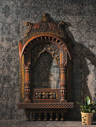 Brown Hand Carved Wood Jharokha (L:37.5in, W:19in)