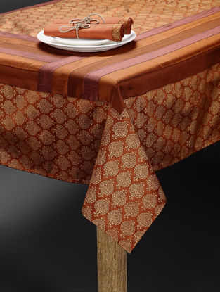Rust-Golden Art Silk Table Cover with 6 Table Napkins (Set of 7)