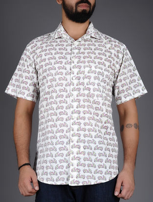 White-Pink Scooter Hand-Block Printed Half Sleeves Cotton Shirt