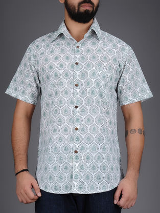 White-Grey Block-Printed Half Sleeves Cotton Shirt