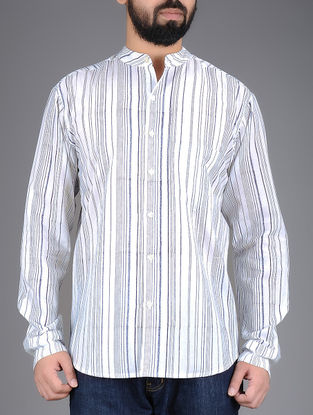 White-Blue Striped Mandarin Collar Full Sleeves Cotton Shirt