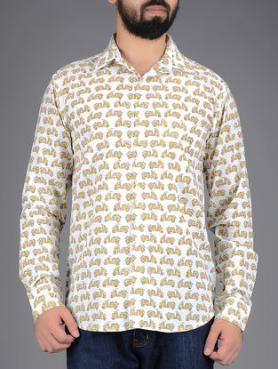 White-Yellow Scooter Hand-Block Printed Full Sleeves Cotton Shirt