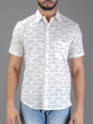 White-Black Car Block Print Half Sleeve Cotton Shirt