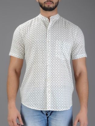 White-Green Geometric Block Print Half Sleeve Cotton Shirt
